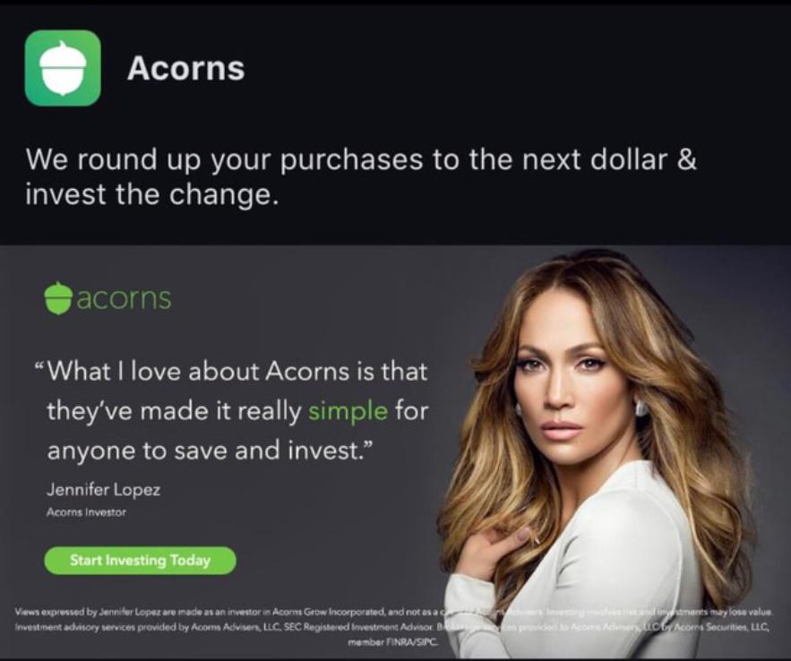 Jennifer Lopez az Acorns-ról